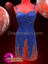 CHARISMATICO Amazing midnight blue dress with a medium length and an A line cut