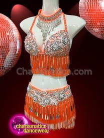CHARISMATICO Orange colored bra and skirt set dress with metallic plate finish