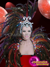 CHARISMATICO Vegas Showgirl Custom Feather Headgear with Silver Crown and Backpack Collar
