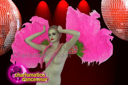 CHARISMATICO Fuchsia Drag Queen Ostrich Feather Wing Set with Peek-a-boo Green  Details