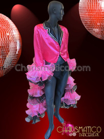 CHARISMATICO Performance Unisex Fuchsia and Black Jacket with Ruffled Full Sleeves