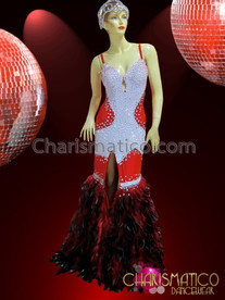 CHARISMATICO Red and White Sequined Vegas Showgirl Gown with Ostrich Feather Skirt
