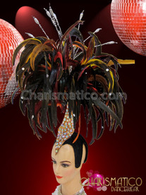 CHARISMATICO Multicolor Ostrich Feather Dancer Headdress with Velvet Cap and Geometric detail