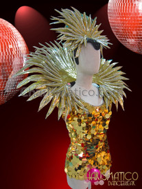 CHARISMATICO Chinese Inspired Gold Sequined Dress and Gold Blade Collar and Crown