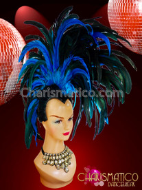 CHARISMATICO Vivid blue sapphire vibrant feather Mohawk samba headdress