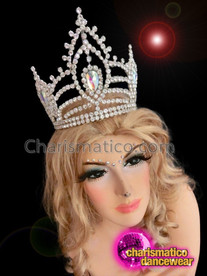 CHARISMATICO Royal Symmetrical Diva Crystal Studded Crown with Geometric Patterns