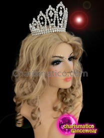 CHARISMATICO Symmetrical Silver Tiara Crown with White Studded Details