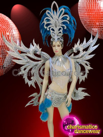CHARISMATICO Brazilian Drag Queen Dancer Blue and Silver Costume with Headdress and Wingset