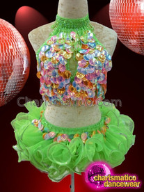 CHARISMATICO Classic Two Part Bright Green Rainbow Sequined Diva's Dance Dress