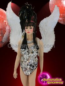 CHARISMATICO Stunning Silver Leotard with White Feathery Wings and Black Feathery Headdress
