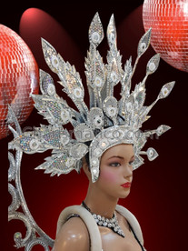 CHARISMATICO Elegant Iridescent Silver Accented Crystal Headdress With Leaf Like Structures