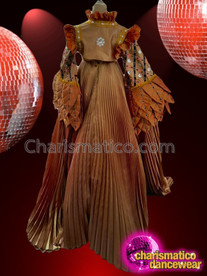 CHARISMATICO Super gorgeous brown and golden wing sleeved drag queen long gown