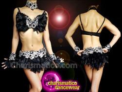 CHARISMATICO sexy sheer black stone works thigh high short bra and skirt combo set dress