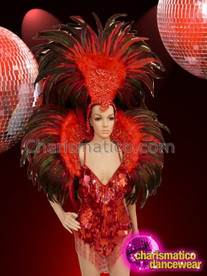 CHARISMATICO stunning radiant red sequin spaghetti strapped asymmetrical diva queen costume set