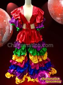 CHARISMATICO vibrant multi colored flamenco dance style multi colored top and skirt combo