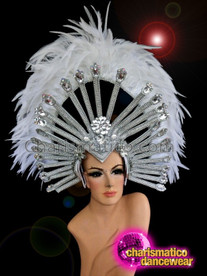 CHARISMATICO White iridescent crystal studded silver setting feathered glamour girl headdress