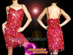 CHARISMATICO Stunning red sequin knee length ultimate showstopper long dress