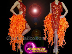 CHARISMATICO Neon orange floral motif sequin knee length beaded stone studded tail dress