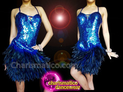 CHARISMATICO Royal blue long feathered short skirt sequin showstopper dress