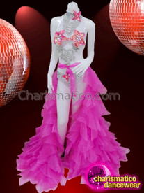 CHARISMATICO Sexy dance queen's silver and pink chiffon bikini and skirt combo with frills