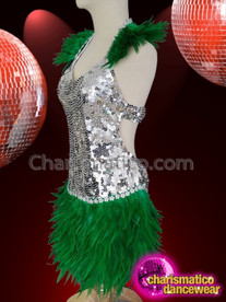 CHARISMATICO Multilayered green and silver fringe dance diva sequin costume