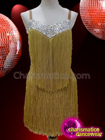 CHARISMATICO Gold Fringe Sleeveless Drag Queen Dress Accented with White Crystals