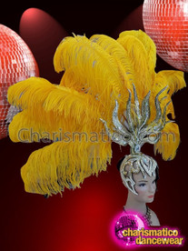 CHARISMATICO Exotic Iridescent Yellow Ostrich Feather Showgirl Headdress with Silver Design