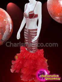 CHARISMATICO Wine red rhinestone embedded dance diva's long bra and skirt combo costume