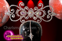 CHARISMATICO shiny silver crystal setting floral patterned dance diva's headdress