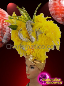 CHARISMATICO wonderful golden sequin and floral chiffon dance diva headdress