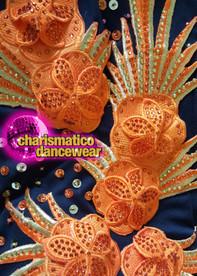 CHARISMATICO high neck one shoulder full sleeve floral design knee length sexy orange dress