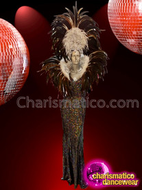 CHARISMATICO glamour diva style metallic gold beaded dance dress with feathered headdress and backpack