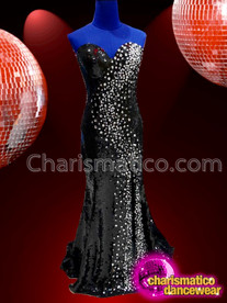 CHARISMATICO strapless jet black long dance diva stone setting amazing gown