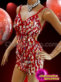 CHARISMATICO Red Silver Glam Diva Sequin Dance Mini-Dress With Jumbo Drop Sequin Fringe
