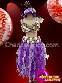 CHARISMATICO Purple Layered White-Green Flower Embellished Hawaiian Two Piece Dance Dress