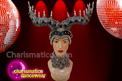 CHARISMATICO Showgirl's Decorated Metallic Silver Spiked Black Sequined Maleficent Horn Headdress