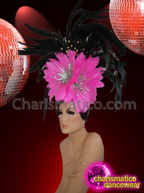 CHARISMATICO Stunning Flower Style Pink And Black Feathered Showgirl Headdress With Silver Crystals