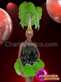 CHARISMATICO Green Feathered Peacock Style Showgirl Costume Set With Turban Style Headdress