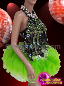 CHARISMATICO Iridescent Crystal Studded Green Feather Ruffled Diva's Peacock Dress With Halter Back Fitting