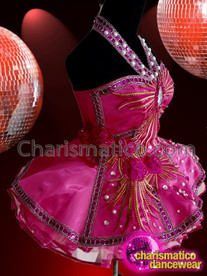 CHARISMATICO Intense Fuchsia Gold Lined Silver Crystal Accented Diva Dolly Dress