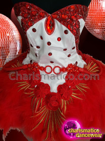 CHARISMATICO Red And White Dolly Diva Dance Dress With Red Sequins