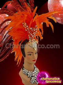 CHARISMATICO Luscious Orange Pheasant Feather Showgirl Headdress with Silver And Orange Crystals