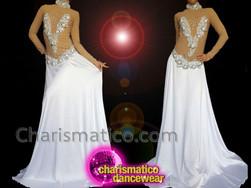 CHARISMATICO Classy Exquisite Glimmering Sequin Silver White Ballroom Gown