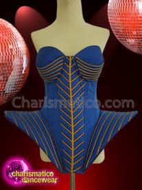 CHARISMATICO Royal Blue Gold diva Gaga Corset