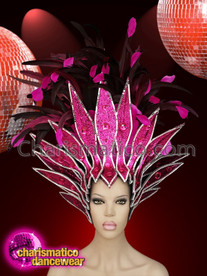CHARISMATICO Stunning Fuchsia Diva Showgirl Feather Headdress