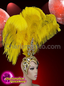 CHARISMATICO Bright yellow ostrich feather showgirl headdress