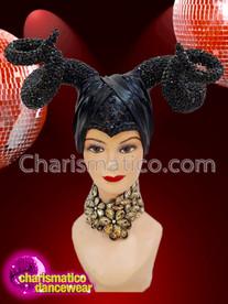 CHARISMATICO Magnificent shimmering unique black horn diva headdress