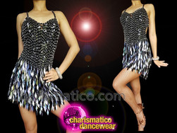 CHARISMATICO Glimmering Dazzling Beautiful Black Silver sequin diva dance dress