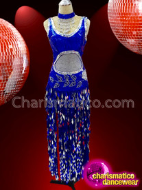 CHARISMATICO Dazzling charming elegant royal blue sequin dress