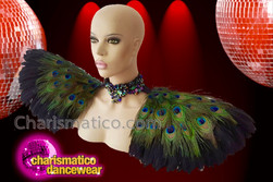 CHARISMATICO Beautiful attractive striking diva showgirl peacock feather headdress and collar